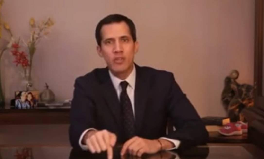 Presidente da Assembleia Nacional, Juan Guaidó convidou militares a se unirem a protesto contra Nicolás Maduro Foto: Reprodução/YouTube