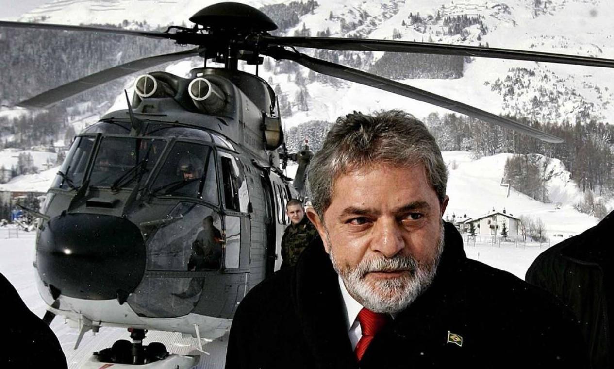 O ex-presidente Luiz Inácio Lula da Silva participou do Fórum Econômico Mundial, em Davos, nos anos de 2003, 2005 e 2007 Foto: Ricardo Stuckert / Presidência da República