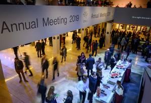 Participantes no encontro anual de 2019 do Fórum Econômico Mundial Foto: FABRICE COFFRINI / AFP