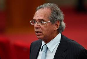 """O ministro da Economia, Paulo Guedes, também falou em um amplo programa de privatização """"onde o Estado é grande, durante almoço com investidores Foto: AFP"""