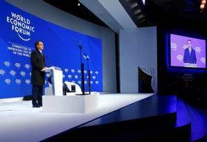 O presidente Jair Bolsonaro discursa no Fórum Econômico Mundial Foto: ARND WIEGMANN / REUTERS