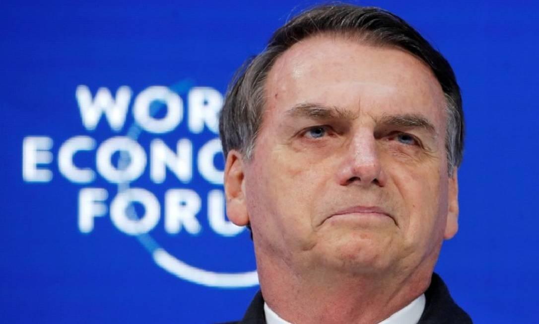 O presidente Jair Bolsonaro participa da reunião anual do Fórum Econômico Mundial (WEF), em Davos Foto: Reuters