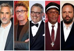 Os indicados a melhor ditetor no Oscar 2019 Alfonso Cuarón (mexicano), Pawel Pawlikowski (polonês), Adam McKay (americano), Spike Lee (americano) e Yorgos Lanthimos (grego) Foto: STAFF / REUTERS