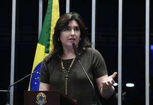 A senadora Simone Tebet (MDB-MS) anunciou candidatura à presidência do Senado nesta semana Foto: Marcos Oliveira/Agência Senado/13-12-2018