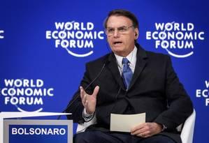 Em Davos, Bolsonaro não deu detalhes do projeto de reforma da Previdência que pretende implantar Foto: AFP