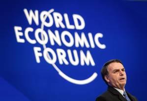 Bolsonaro em Davos Foto: FABRICE COFFRINI / AFP