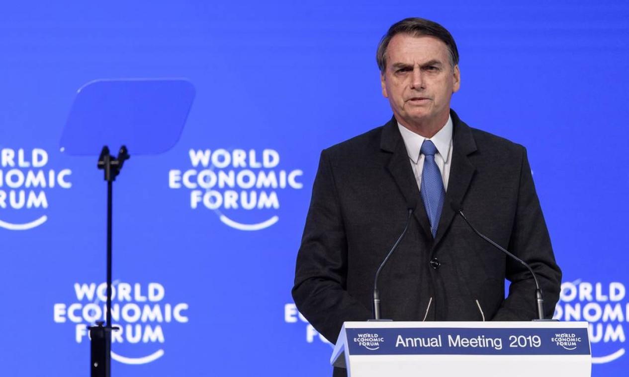 Em 2019, Bolsonaro faz sua estreia no cenário internacional discursando na abertura do Fórum Econômico Mundial Foto: FABRICE COFFRINI / AFP