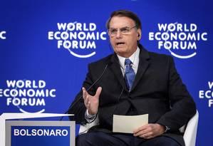 O presidente Jair Bolsonaro, no Fórum Econômico Mundial em Davos Foto: Fabrice Coffrini / AFP
