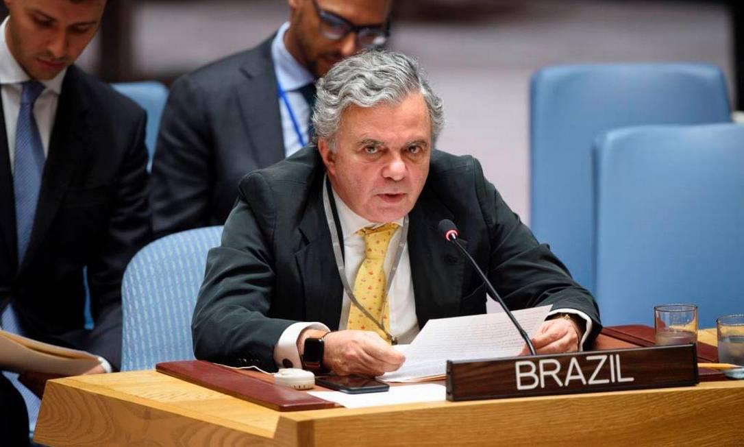 O embaixador brasileiro na ONU, Frederico Meyer Foto: Reprodução/Twitter/18-05-2018