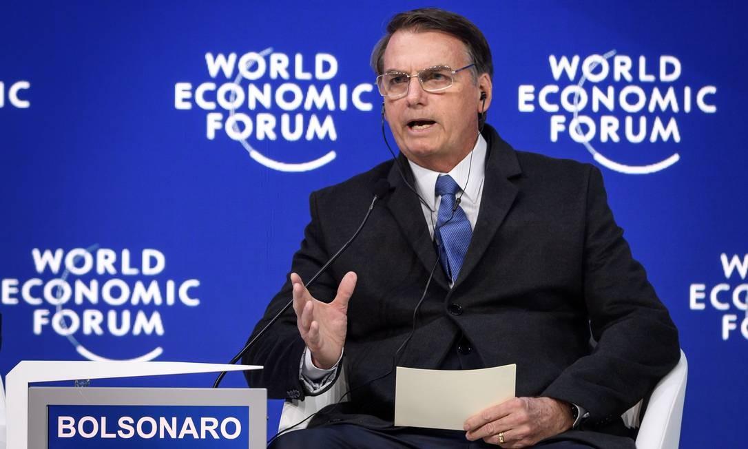 Bolsonaro discursa no Fórum Econômico Mundial Foto: FABRICE COFFRINI / AFP