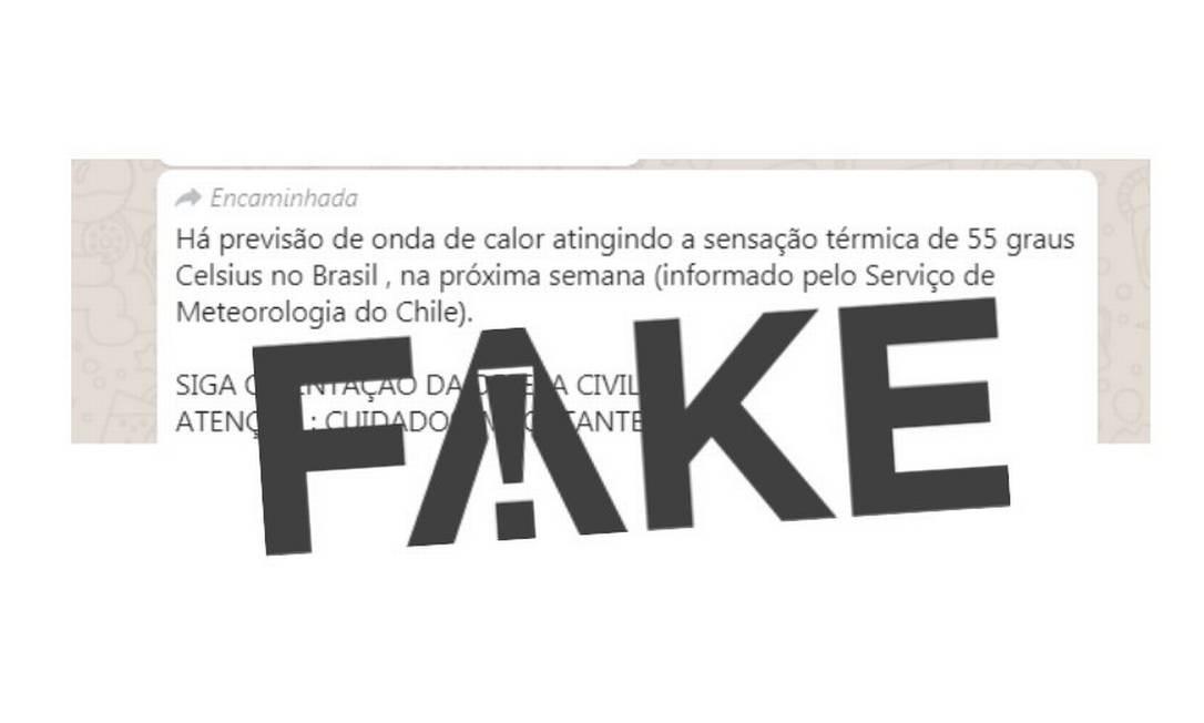 O serviço meteorológico do Chile respondeu que não fez nenhuma previsão para o Brasil Foto: Reprodução