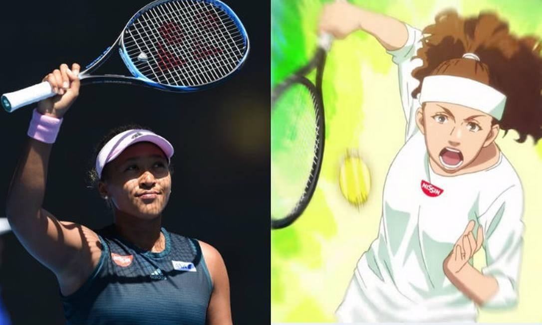 A tenista Naomi Osaka, filha de pai haitiano e mãe japonesa, é representada nos desenhos com a pele bem mais clara e os cabelos apenas ligeiramente ondulados Foto: Montagem AFP/Reprodução Youtube