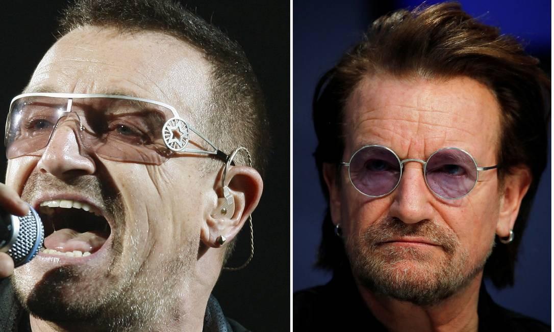 O vocalista do U2 em dois tempos: 2009 e no Fórum Econômico Mundial de 2019 Foto: Fotos: Reuters