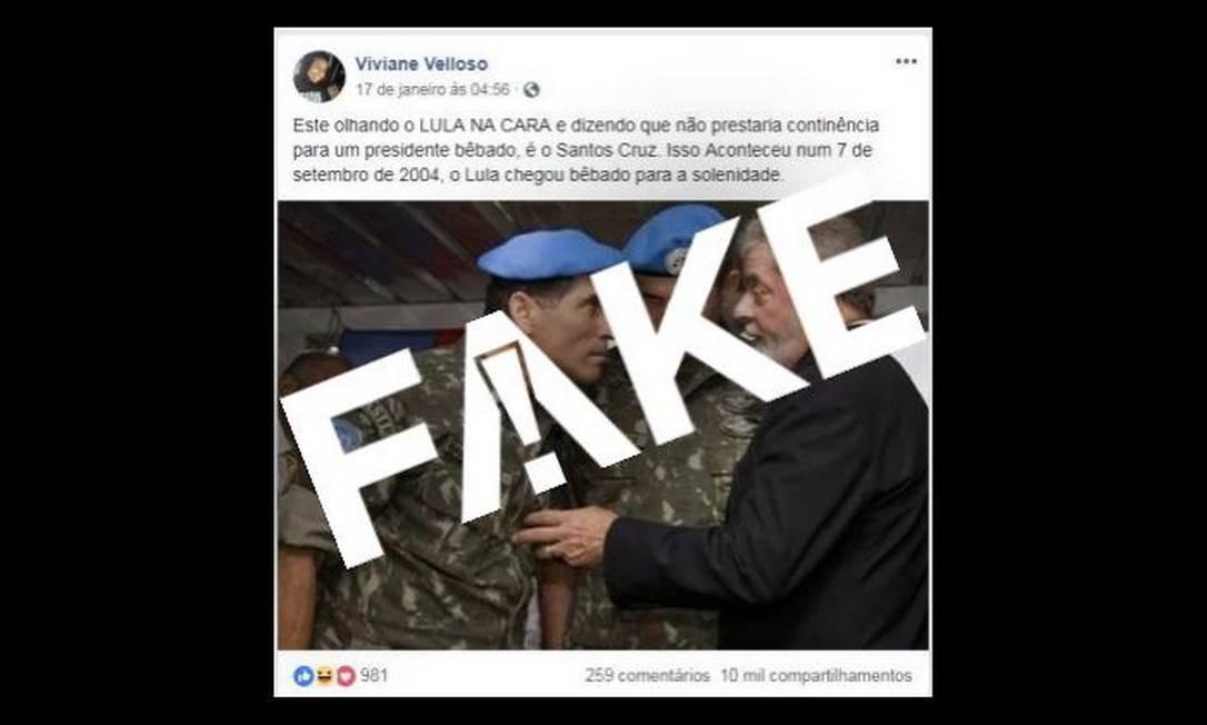 Mensagem falsa diz que Lula estaria bêbado durante uma solenidade Foto: Reprodução