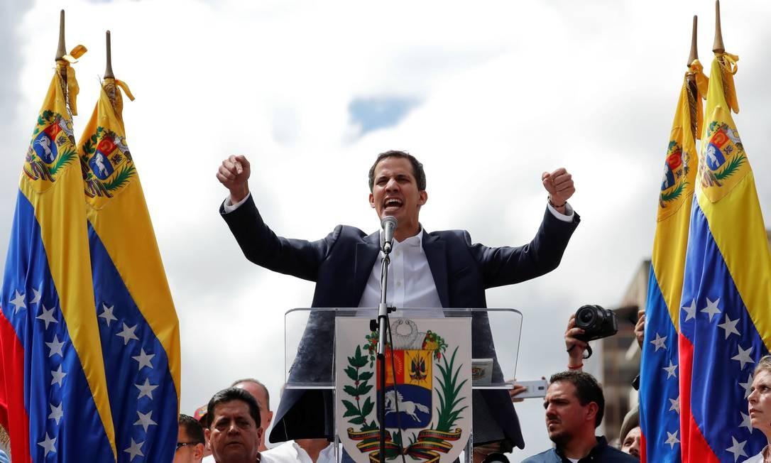 Juan Guaidó participa de protesto em Caracas Foto: Carlos Garcia Rawlins/Reuters