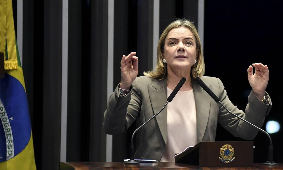A presidente do PT, senadora Gleisi Hoffmann (PR), discursa na tribuna do Senado Foto: Jefferson Rudy/Agência Senado/28-11-2018