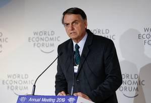 O presidente Jair Bolsonaro discursa no Fórum Econômico Mundial de Davos Foto: Alan Santos/Presidência