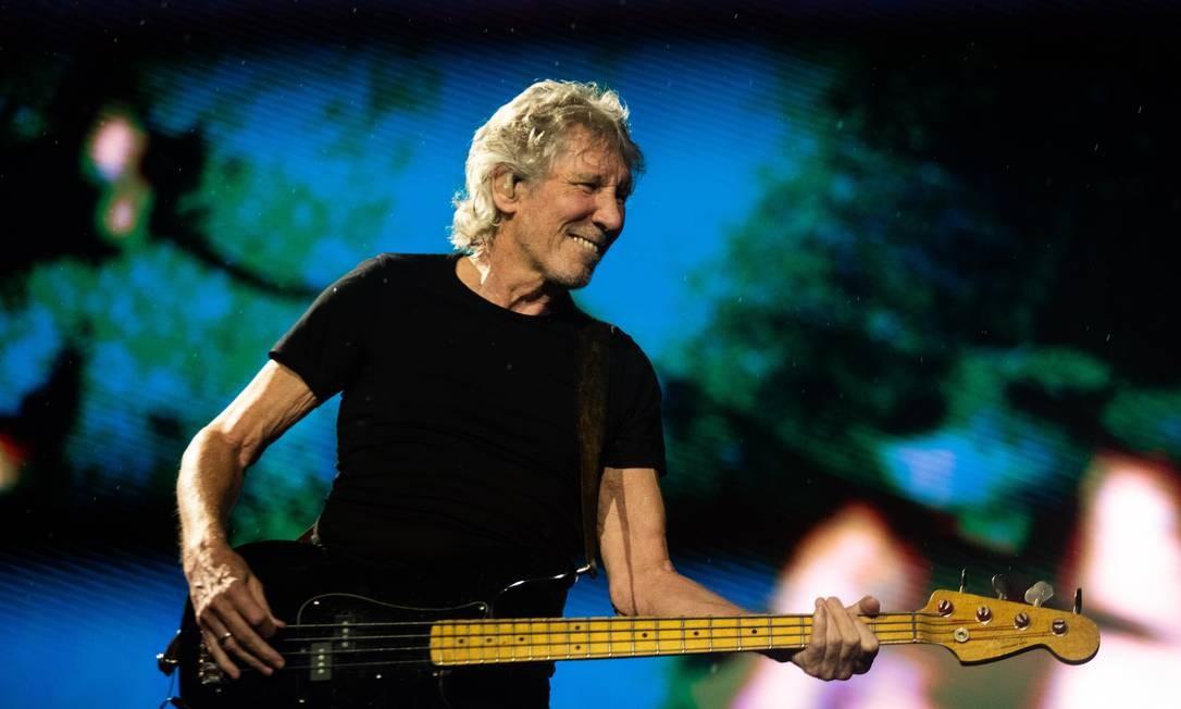 Roger Waters durante show no Rio da turnê Us + Them, em outubro de 2018 Foto: Bárbara Lopes / Agência O Globo
