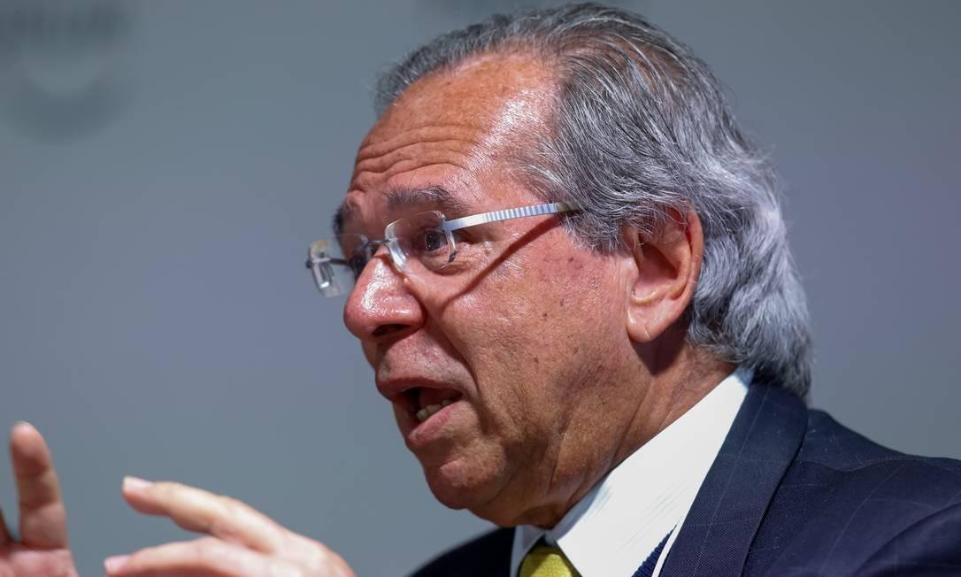 Ministro da Economia, Paulo Guedes, fala em encontro realizado em Davos Foto: Alan Santos/PR