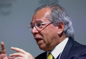 Ministro da Economia, Paulo Guedes, durante entrevista Foto: Alan Santos / PR