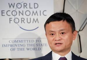 Jack Ma, fundador do AliExpress e do Alibaba, no encontro de 2019 do Fórum Econômico Mundial Foto: ARND WIEGMANN / REUTERS