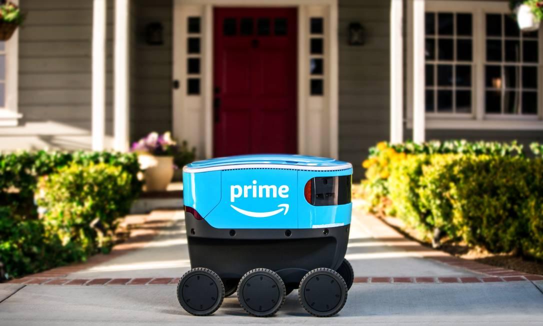 O Amazon Scout é um pequeno robô autônomo para entregas de produtos Foto: Amazon