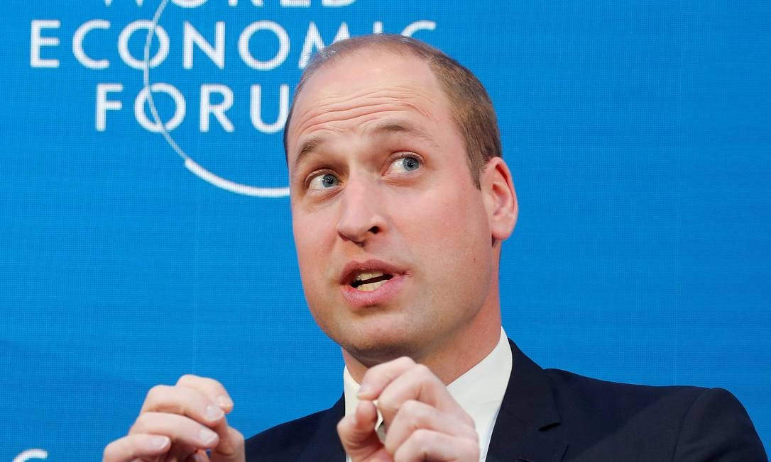 O príncipe William durante sua participação do encontro do Fórum Econômico Mundial de 2019 Foto: ARND WIEGMANN / REUTERS