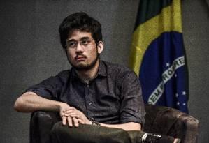 Kim Kataguiri entoa o discurso da austeridade. O fundador do MBL afirmou que, como deputado federal, abrirá mão dos auxílios mudança e moradia e doará 20% do salário bruto, de quase R$ 34 mil, para instituições Foto: Lucas Lacaz Ruiz / Agência O Globo