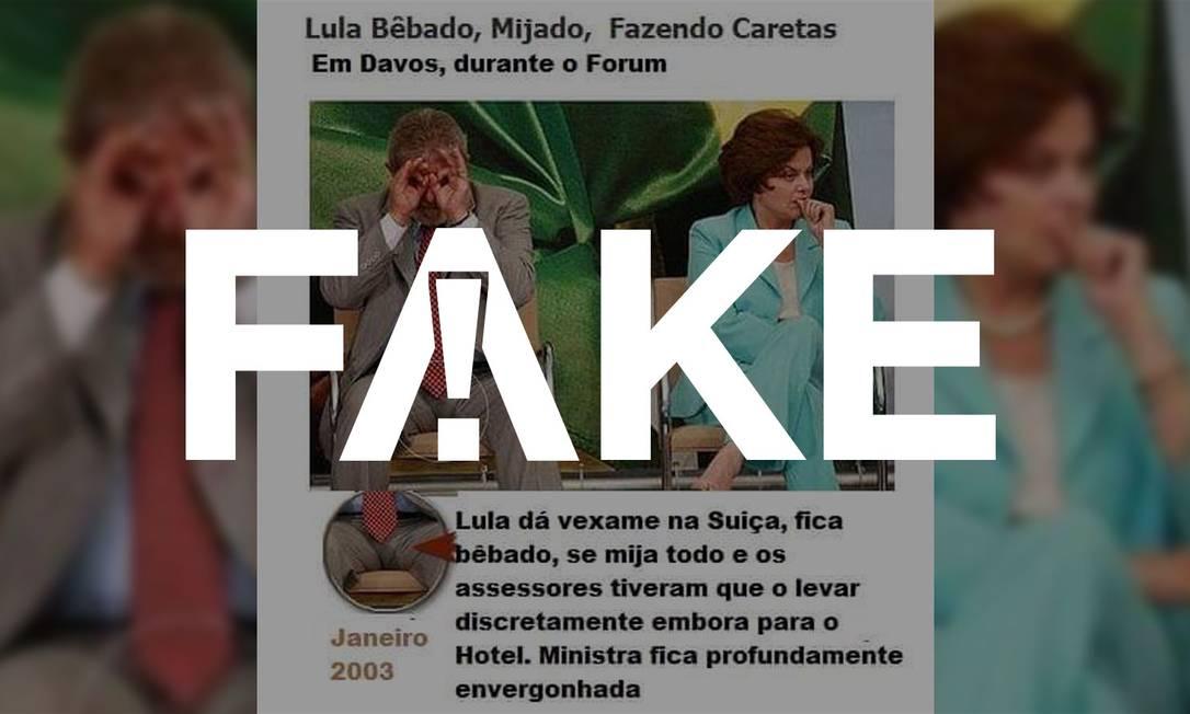 Mensagem falsa diz que foto mostra ex-presidente Lula bêbado em fórum na Suíça Foto: Reprodução