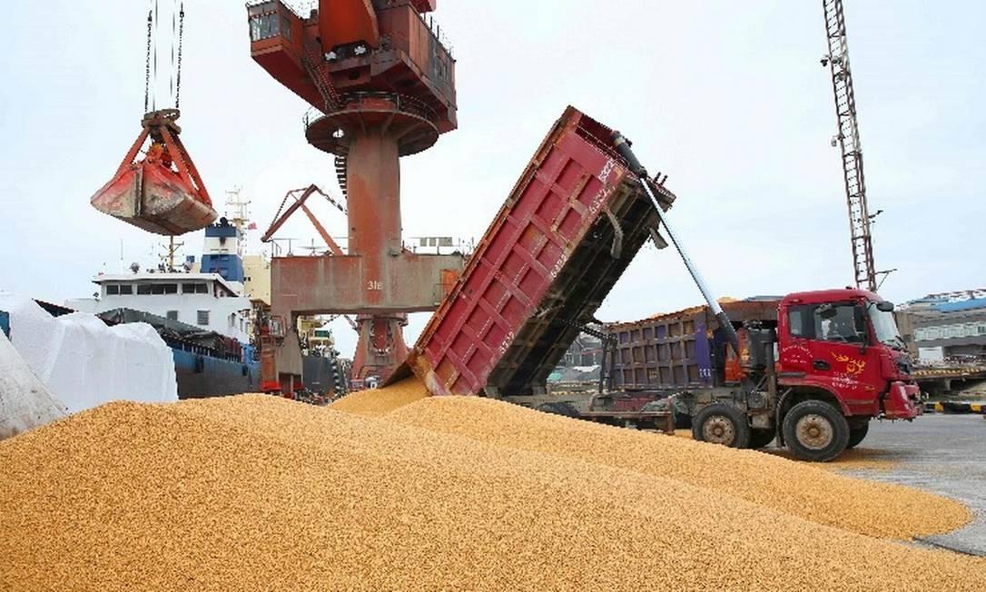 Trabalhadores descarregam soja no Porto de Nantong, na província de Jiangsu, China Foto: / AFP