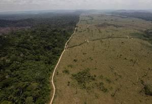 Foto de setembro de 2009 mostra área desmatada no município de Novo Progresso, no Pará, junto a floresta ainda de pé: medidas do novo governo colocam em risco a Amazônia, alerta Artaxo Foto: Andre Penner / AP/Andre Penner/15-09-2009