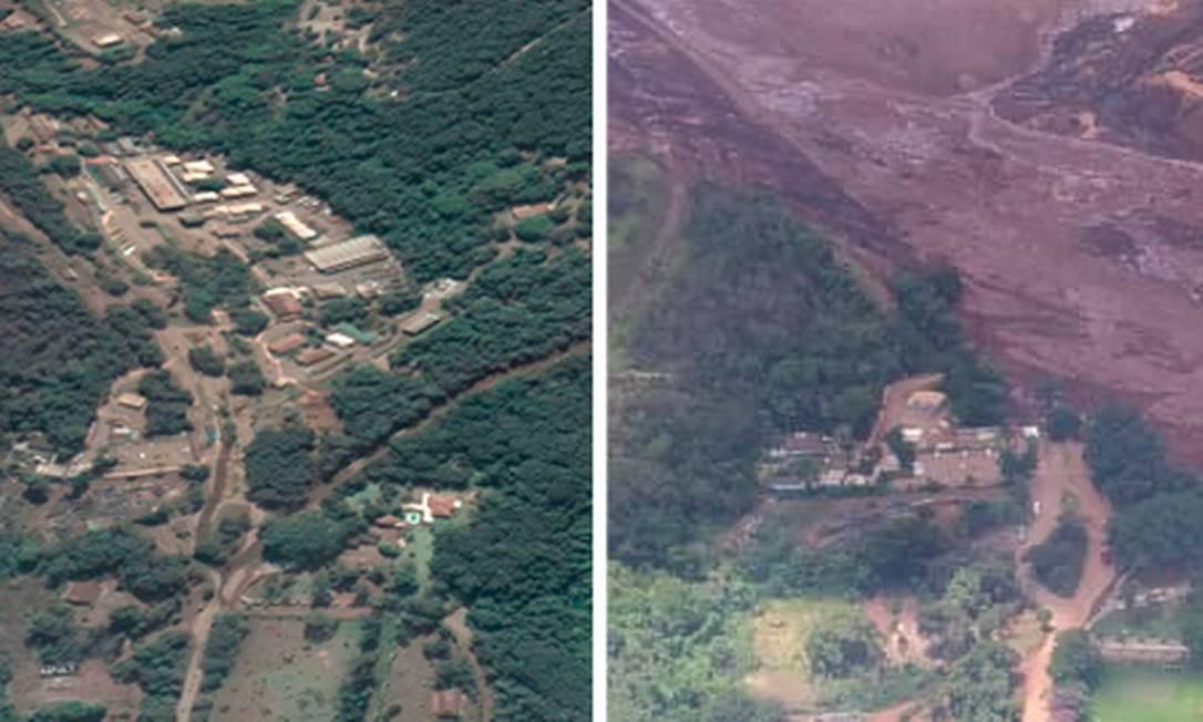 O antes e depois da tragédia de Brumadinho Foto: Reprodução