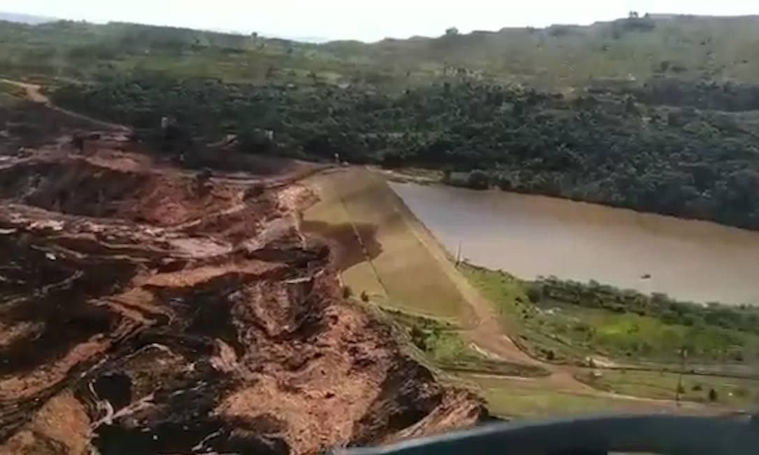 Vídeo mostra voo sobre a tragédia em Brumadinho (MG) Foto: Divulgação / Polícia Militar de MG