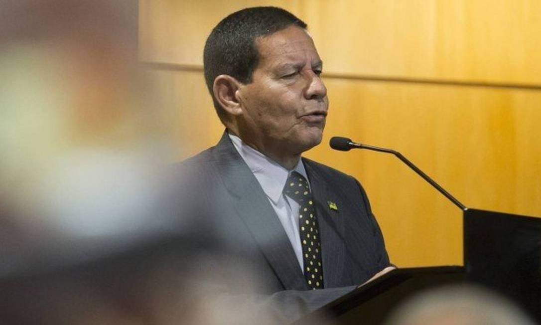 O vice-presidente Hamilton Mourão durante evento. Foto: Edilson Dantas / Agência O Globo