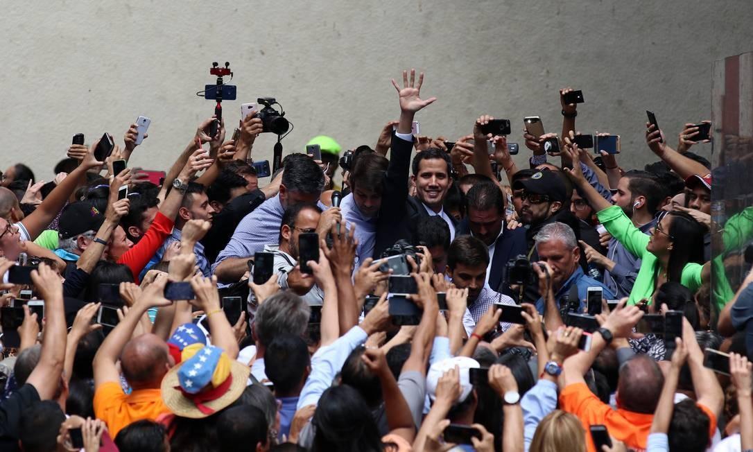 Entre os países que reconheceram a legitimidade de Guaidó estão Brasil, Argentina, Chile, Canadá, Estados Unidos e Colômbia. Na foto, Guaidó discursa em 25 de janeiro Foto: Lokman Ilhan / Anadolu Agency / Getty Images