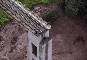Visão aérea da tragédia em Brumadinho, em Minas Gerais Foto: DOUGLAS MAGNO / AFP