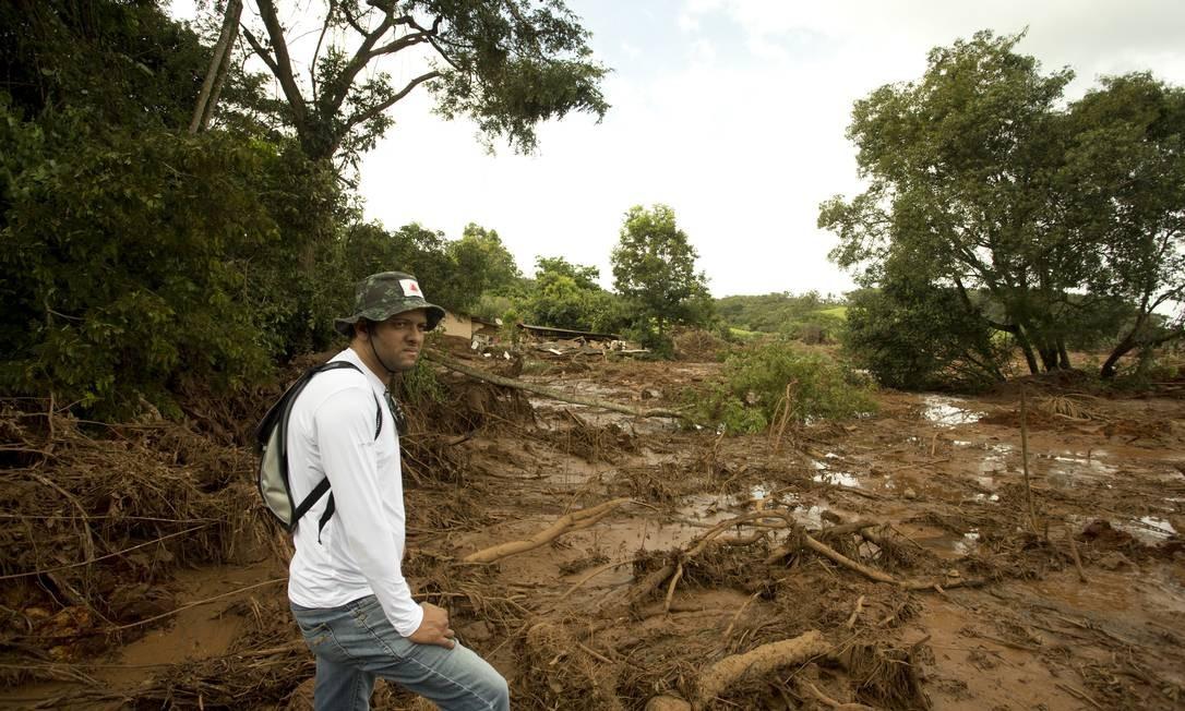 Primeira área atingida pela lama, em Córrego do Feijão, distrito de Brumadinho. Neste local ficavam o refeitório e a administração da Vale, e algumas casas e a pousada Márcia Foletto / Agência O Globo