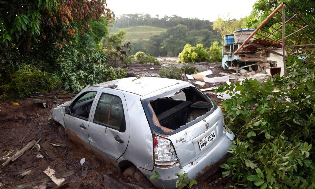 Casa em Brumadinho atingida pelo mar de lama da barragem da Vale que se rompeu Foto: DOUGLAS MAGNO / AFP