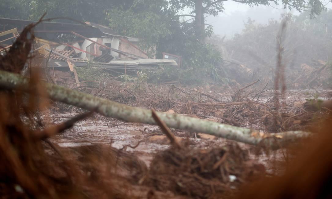 Casa destruída pela enxurrada de lama depois que uma barragem de rejeitos da mineradora Vale rompeu no distrito de Córrego do Feijão, em Brumadinho Foto: ADRIANO MACHADO / REUTERS