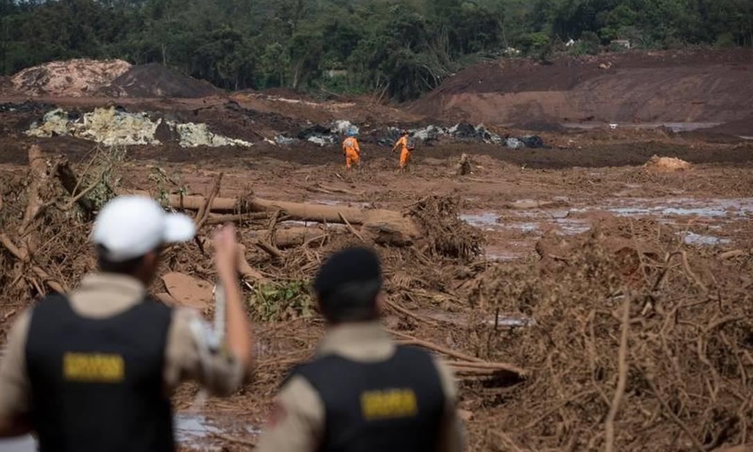 Os voluntários da ONG Anjos do Asfalto acabam desistindo depois que a Polícia Militar os impediu de retirar o animal da lama Márcia Foletto - Agência O Globo