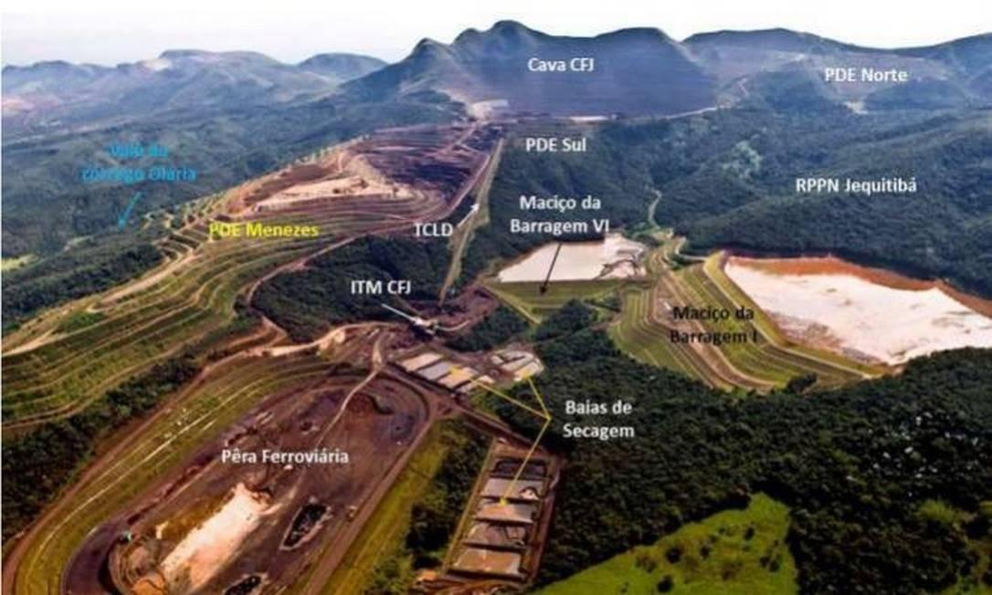 Foto aérea do complexo de barragens da Vale em Brumadinho Foto: Reprodução