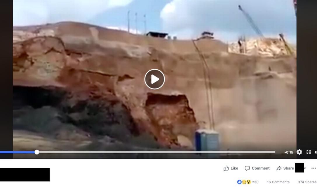 Vídeo não é de Brumadinho. É de 2015, em Sinop Foto: Reprodução
