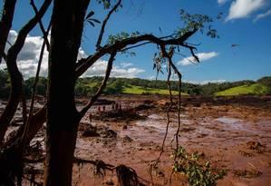 Bombeiros trabalham no resgate de vitimas do rompimento da represa da Mina do Feijao, da mineradora Vale, em Brumadinho Foto: Daniel Marenco / Agência O Globo