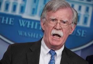 Conselheiro de Segurança Nacional dos EUA, John Bolton, na Casa Branca Foto: MANDEL NGAN / AFP