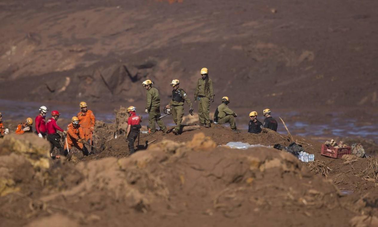 É o quinto dia de trabalhos na região do Córrego do Feijão. Até agora, 65 corpos foram encontrados, 31 dos quais identificados, e 288 pessoas ainda estão desaparecidas Foto: Márcia Foletto / Agência O Globo