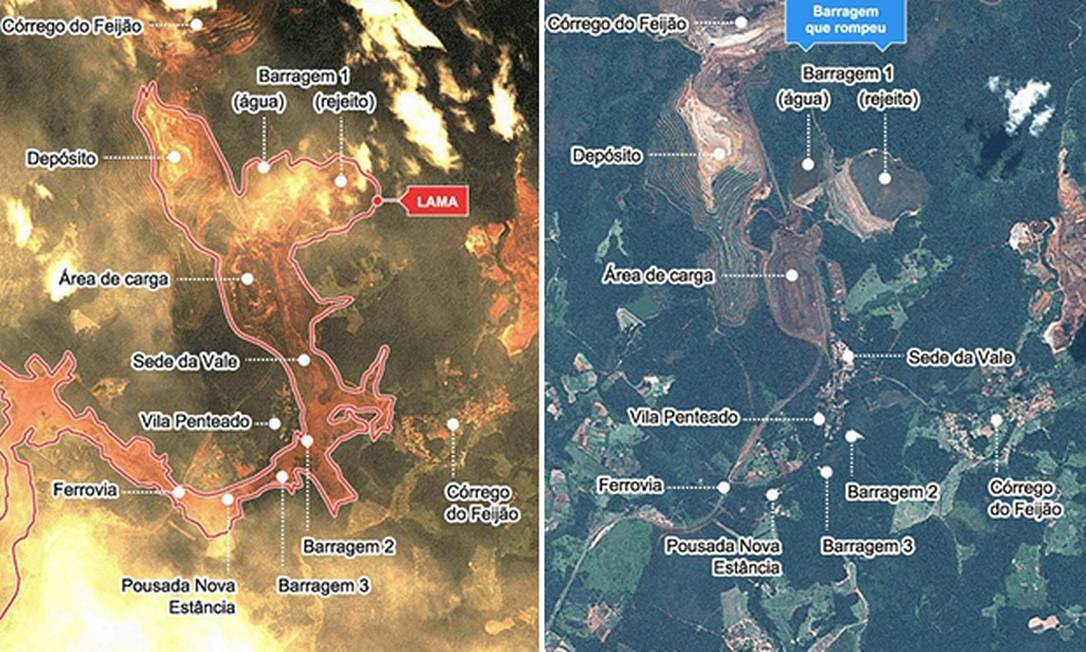 Imagens de satélite mostram a nova geografia da região após o desastre Foto: Reprodução