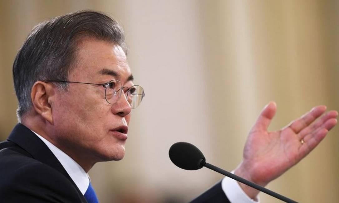 Presidente sul-coreano, Moon Jae-in discursa em Seul Foto: Jung Yeon-je/Pool via REUTERS