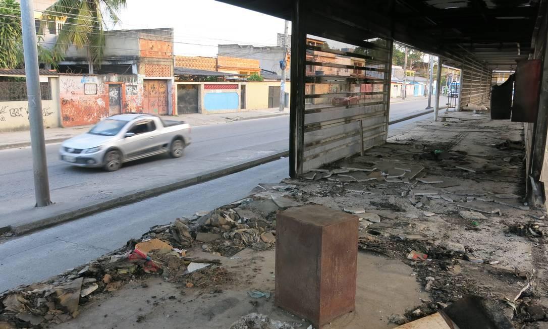 No BRT Transoeste, estações depredadas foram fechadas e ficaram em estado preocupante em 2018 Foto: Rafael Galdo / Agência O Globo