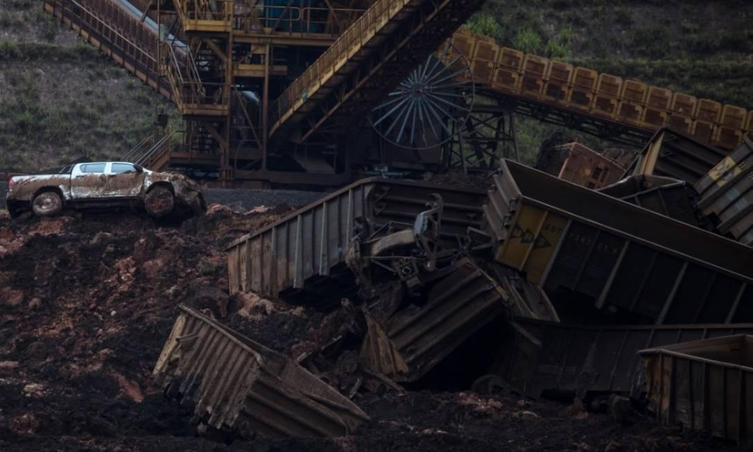 Vista aérea da destruição causada pelo rompimento da barragem da MIna Córrego do Feijão, da Vale, em Brumadinho Foto: Bloomberg