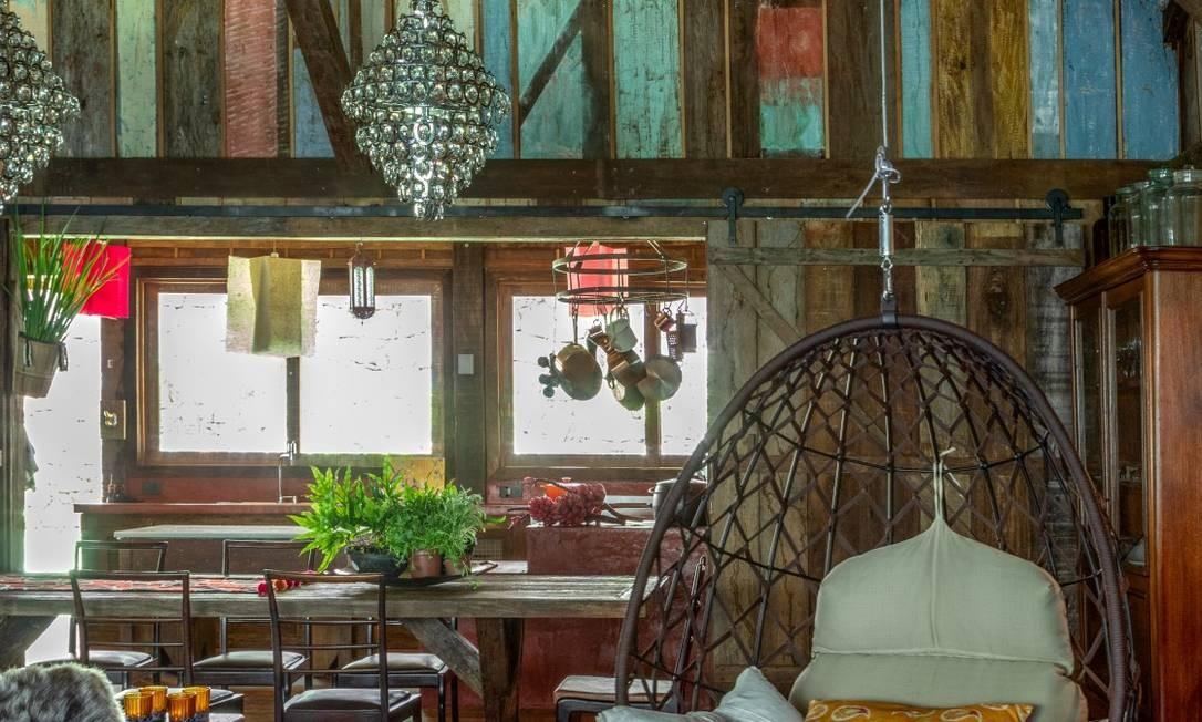 Espaço da casa da atriz Betty Gofman, antiga cabana remontada de forma sustentável Foto: André Nazareth